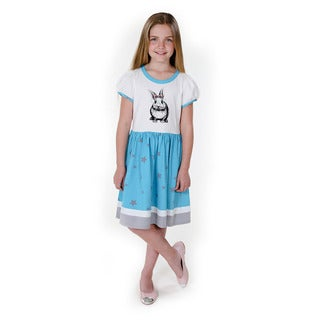 Jelly the Pug Girls' Nola Bunnies Hop Knit Short Sleeve Round Neck Dress