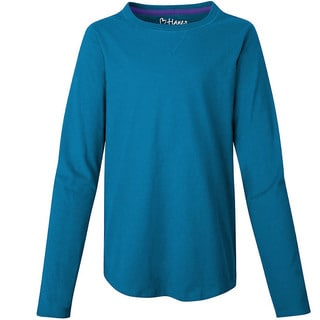 Hanes Girls' V-Notch Shirttail Long-Sleeve Crewneck T-Shirt
