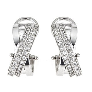 18k White Gold 1 1/5ct TDW Diamond Ribbon Earrings