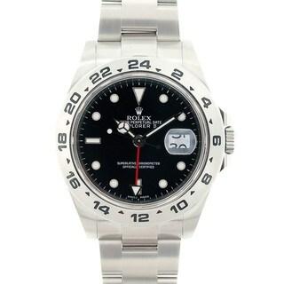 Pre-owned Rolex Men's Explorer II Black Stainless Steel Watch Model 16570