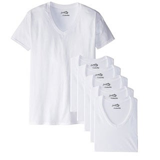 Men's White V-Neck T-Shirt (Pack of 6)