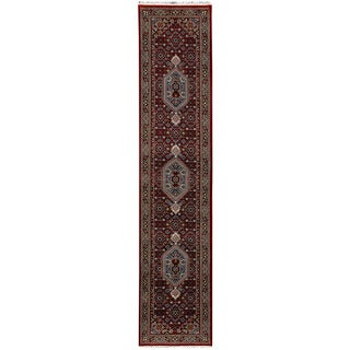 Herat Oriental Indo Hand-knotted Bidjar Light Red/ Navy Wool Runner (2'7 x 13')