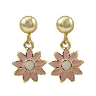 Luxiro Gold Finish Pink Enamel Flower Girls Dangle Earrings
