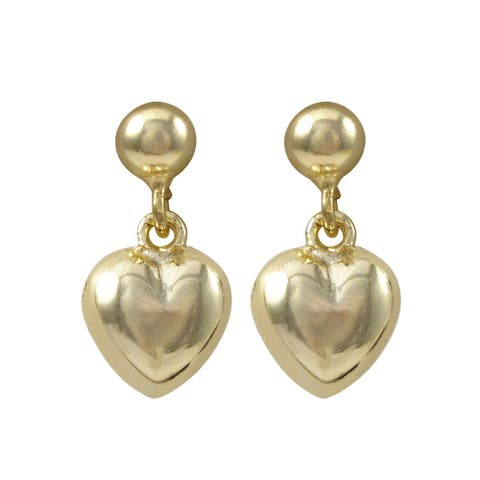 Luxiro Gold Finish Puffy Heart Children's Dangle Earrings - White