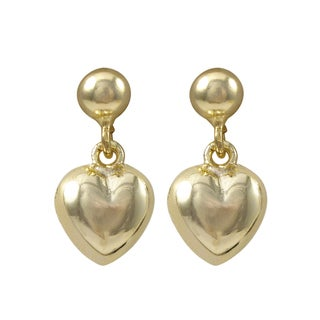 Link to Luxiro Gold Finish Puffy Heart Children's Dangle Earrings - White Similar Items in Children's Jewelry