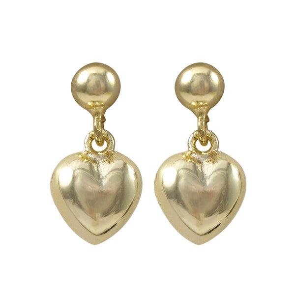 Luxiro Gold Finish Puffy Heart Children's Dangle Earrings - White