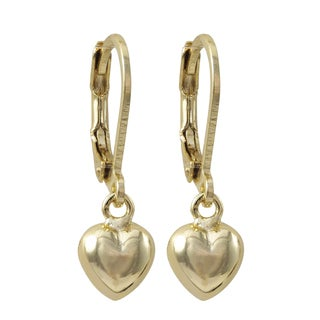 Luxiro Gold Finish Puffy Heart Children's Dangle Earrings