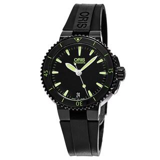 Oris Women's 01 733 7652 4722-07 4 18 34B 'Aquis Date' Black Dial Black Rubber Strap Swiss Automatic