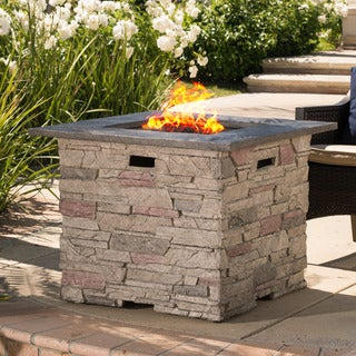 Hoonah 32-inch Outdoor Square Liquid Propane Fire Pit with Lava Rocks by Christopher Knight Home