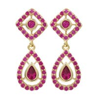 Luxiro Gold Finish Sterling Silver Lab-created Ruby Teardrop Earrings