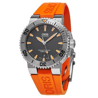 Oris Men's 01 733 7653 4158-07 4 26 32EB 'Aquis Date' Grey Dial Orange Rubber Strap Swiss Automatic Watch