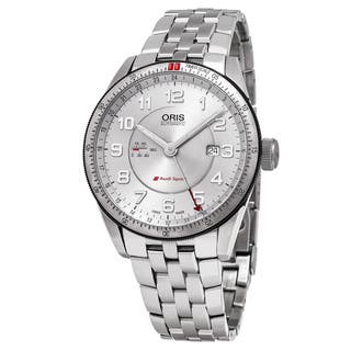 Oris Men's 01 747 7701 4461-07 8 22 85 'Audi' Silver Dial Stainless Steel GMT Sport Swiss Automatic|https://ak1.ostkcdn.com/images/products/11668617/P18597448.jpg?impolicy=medium