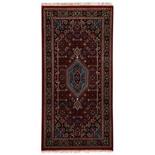 Herat Oriental Indo Hand-knotted Bidjar Red/ Navy Wool Rug (3' x 5'4)