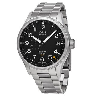 Oris Men's 748 7710 4164 MB 'Big Crown' Black Dial Stainless Steel ProPilot GMT Swiss Automatic Watch