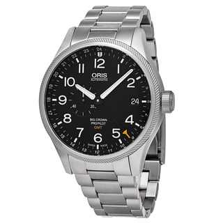 Oris Men's 748 7710 4164 MB 'Big Crown' Black Dial Stainless Steel ProPilot GMT Swiss Automatic Watc