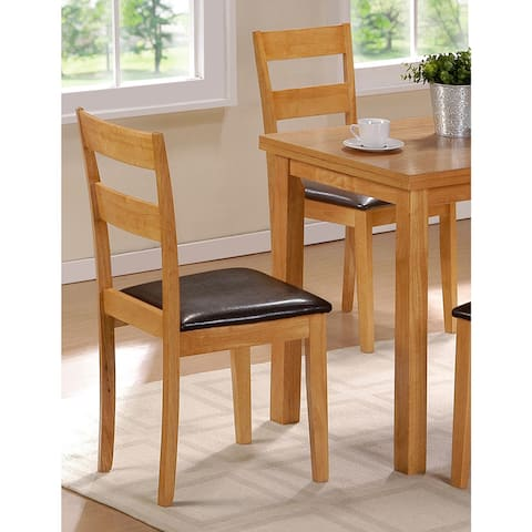 Colorado Natural Wood Finish and Upholstered Dining Chair (Set of 2) - 35.4 inches high x 19.7 inches deep x 16.2 inches