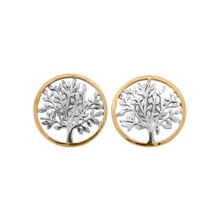 Meredith Leigh 14k Yellow Gold and Sterling Silver Tree Circle Earrings