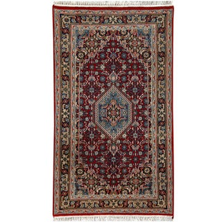 Herat Oriental Indo Hand-knotted Bidjar Light Red/ Navy Wool Rug (3' x 5'4)