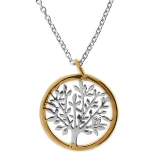Meredith Leigh 14k Yellow Gold and Sterling 'Silver Tree of Life' Pendant