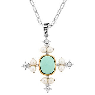 Meredith Leigh 14k Yellow Gold and Sterling Silver Gemstone Cross Pendant