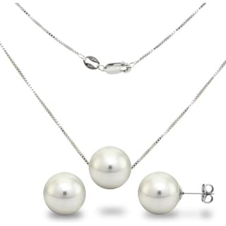 DaVonna Sterling Silver 18-inch Box Chain Necklace with 12mm White Round Shell Pearl and Stud Earrings Set