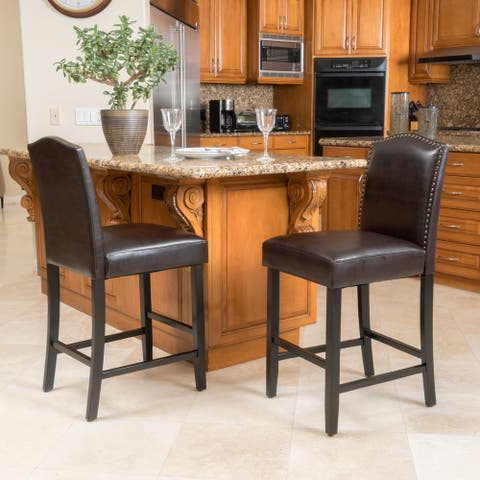 Logan 27-inch Bonded Leather Backed Counter Stool (Set of 2) by Christopher Knight Home