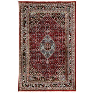 Herat Oriental Indo Hand-knotted Bidjar Light Red/ Navy Wool Rug (6'9 x 10')