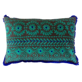 Handmade Lumbar Rabari Cotton Embroidered Throw Pillow (India)