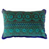 Handmade Lumbar Rabari Cotton Embroidered Throw Pillow (India)