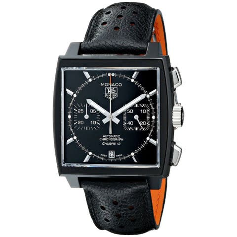 Tag Heuer Men's CAW211M.FC6324 'Monaco' Automatic Black Leather Watch