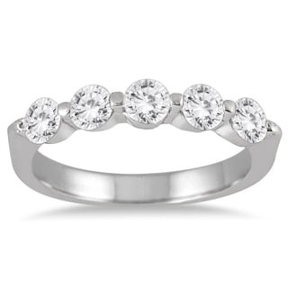 Marquee Jewels 10k White Gold 1ct TDW 5-stone Diamond Band
