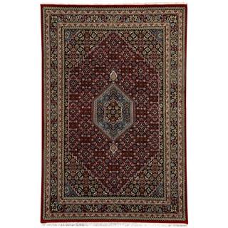 Herat Oriental Indo Hand-knotted Bidjar Red/ Navy Wool Rug (5'6 x 8')