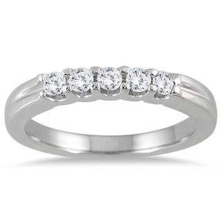 Marquee Jewels 14k White Gold 1/4ct TDW 5-stone Diamond Band