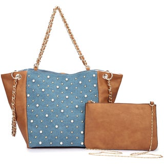 Dasein Denim Chain Link Tote Bag