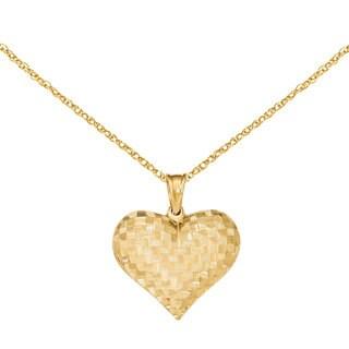 Versil 14k Yellow Gold Textured Puff Heart Pendant