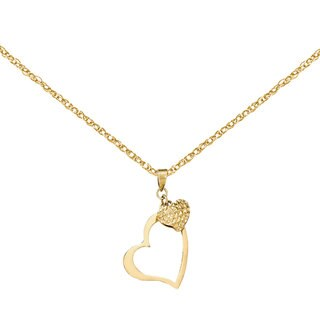 Versil 14k Yellow Gold Open Heart and Puffed Heart Pendant with 18-inch Chain