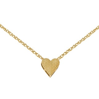 Versil 14k Yellow Gold Reversible Cut-out Heart Chain Slide