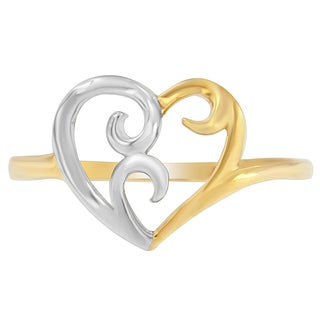 10K Two-Tone Gold Heart Ring