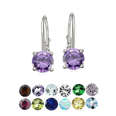 Glitzy Rocks Sterling Silver Gemstone Birthstone Leverback Earrings