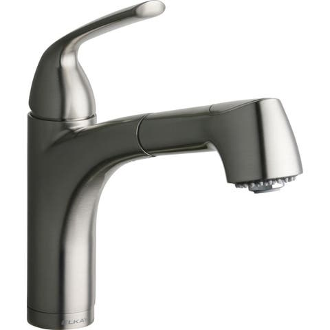 Elkay Gourmet Single Hole Bar Faucet Pull-out Spray and Lever Handle Brushed Nickel