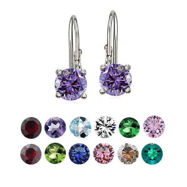 Crystal Ice Sterling Silver Swarovski Elements Birthstone Leverback Earrings. Opens flyout.