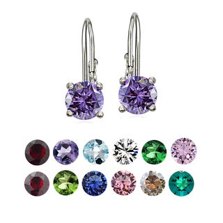 Crystal Ice Sterling Silver Swarovski Elements Birthstone Leverback Earrings (More options available)