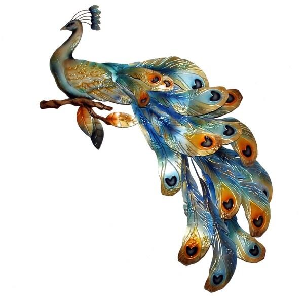 Peacock Seated Metal Art