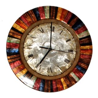 Handmade Multicolor Metal Art Clock (Philippines)|https://ak1.ostkcdn.com/images/products/11669034/P18597807.jpg?impolicy=medium