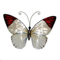 Handmade Red Tipped Butterfly Metal Art