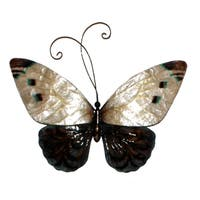 Handmade White and Blue Butterfly Metal Art