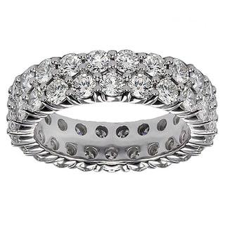 Platinum 3 1/10 - 3.65ct 2-row Diamond Eternity Wedding Band (G-H, SI1-SI2)