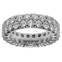 Platinum 3 1/10 - 3.65ct 2-row Diamond Eternity Wedding Band