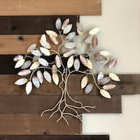 Handmade Cool Color Leafed Tree Metal Art