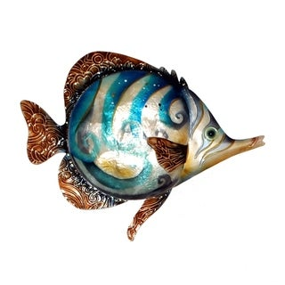 Handmade Blue Swirl Fish Metal Art Wall Decor